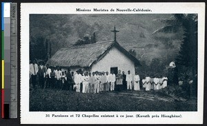 Clergy and villagers in front of chapel near Hienghène, New Caledonia, ca.1900-1930