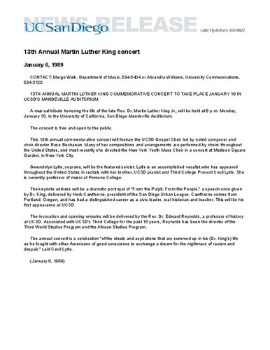 13th Annual Martin Luther King concert
