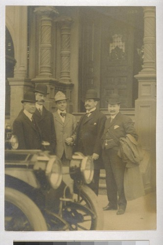 [Frances J.] Heney, [Fremont] Older, ?, [Rudolph] Spreckels, [William J.] Burns