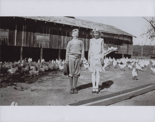 Elmer and Ruby Scott at the family chicken ranch, Bodega Avenue, Petaluma, California, in the 1930s