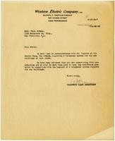 Letter from Western Electric Company to Julia Morgan, September 18, 1923