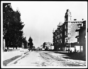 View of Main Street looking north from Fourth Street, Los Angeles, ca.1888-1898