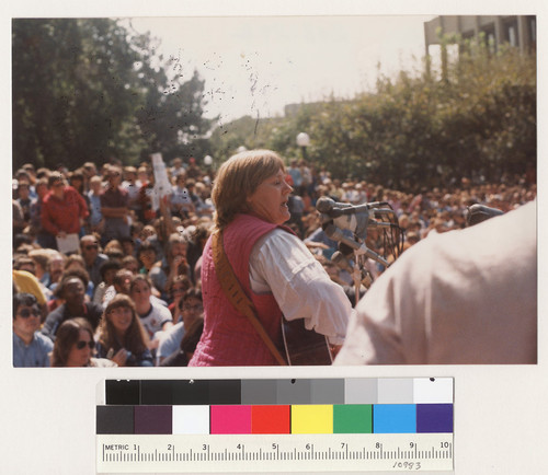 Barbara Dane singing at Free Speech Movement 20th anniversary rally in Sproul Plaza