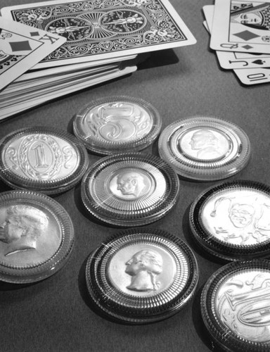 Coins used at the card tables