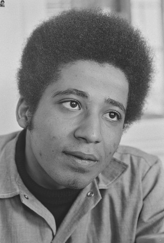 George Jackson #3, Portrait looking at camera, eyes upward, San Quentin Prison