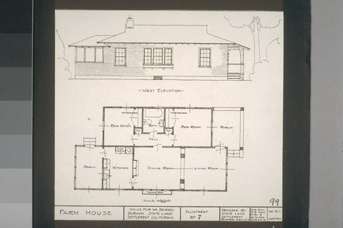 Farm House - House for Wm. Deveney - Durham State Land Settlement, California, Allotment No. 7, Designed by State Land Settlement Board, 7-12-18