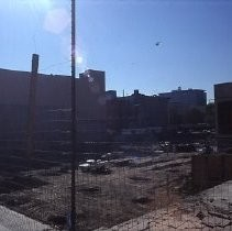 View of the construction site for Weinstock's Department Store on the K Street Mall or Downtown Plaza