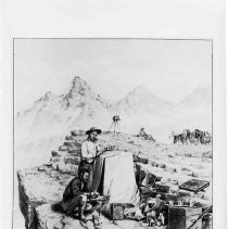 Photographs of Sketches of Western Pioneer Trail scenes. Photographers working
