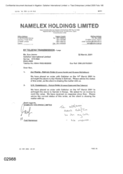 [Letter from Fadi Nammour to Sue James regarding order placed placed with Gallaher to Bahrain and Kenya]