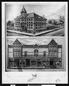 Two drawings of Porterville depicting the public school and Pioneer Store, 1900-1940