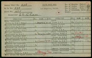 WPA block face card for household census (block 425) in Los Angeles County