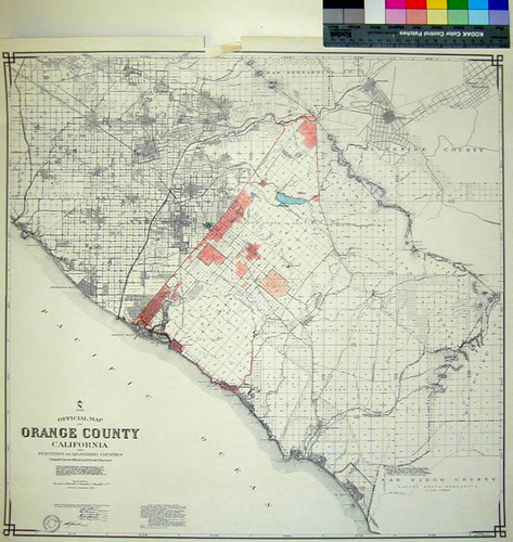 The official map of Orange County California and portions of adjoining counties : compiled from official and private surveys