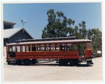 Newly-restored Trolley 124 outside Trolley Barn