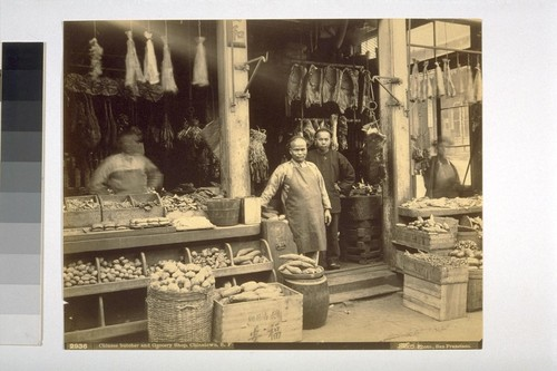 Chinese Butcher and Grocery Shop, Chinatown, S.F. Taber Photo. 2936