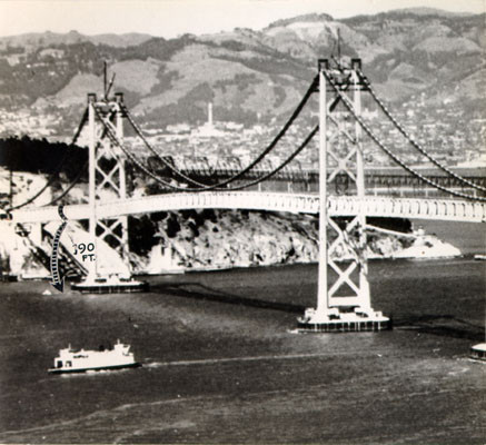 [View of the San Francisco-Oakland Bay Bridge with a diagram showing where a bridge worker fell]