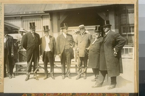 L to R: S.F. [San Francisco] Postmaster Chas. Fay, Rafael Weil--White House, S.F. Mayor Rolph Jr., Frank K. Lain of Pres. Wilson's Cabinet, Ex-Mayor Taylor, Ex-Supervisor Vogelsang, 1915