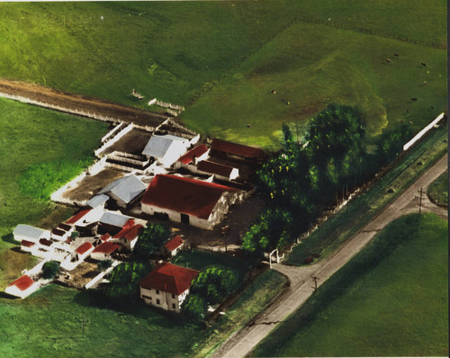 Aerial view of the Sartori Dairy Ranch, 1416 Casa Grande Road, Petaluma, California