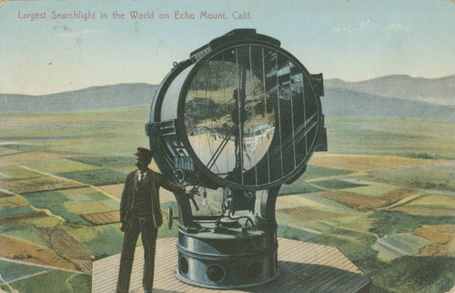 Largest searchlight in the world on Echo Mount, Calif