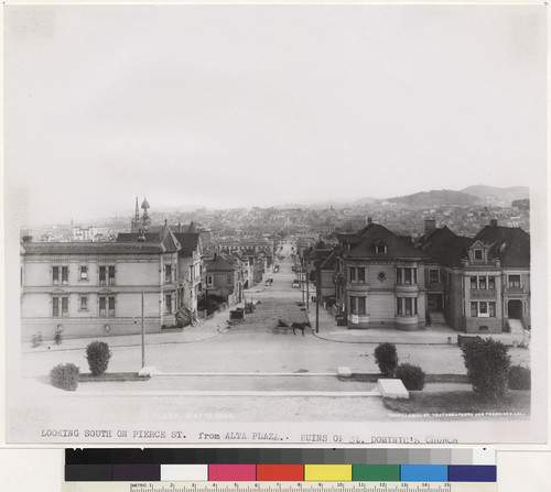 Looking south on Pierce St. from Alta Plaza. Ruins of St. Dominic's Church. [Photograph by Turrill & Miller.]