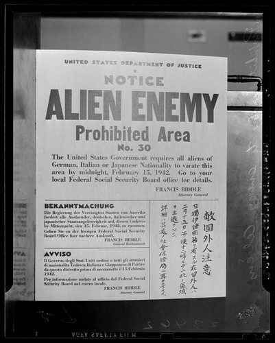 Notice for alien enemy prohibited territory no. 30