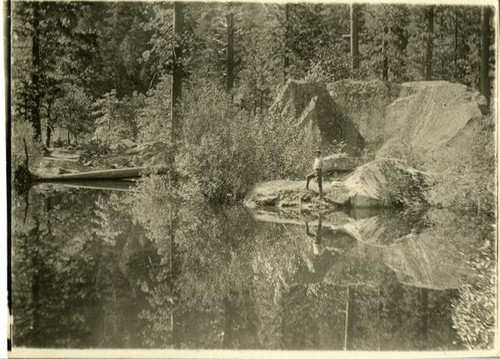 Mirror Lake, man standing