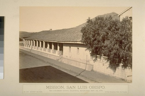 Mission, San Luis Obispo. San Luis Obispo County, California, established September 1st, 1772