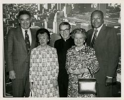 Mayor Bradley, Gladys Burns, Cardinal Manning, Mary Dockweiler Sooy, and Councilman John Ferraro at charity event at St. Vincent's Hospital