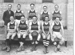 Analy Union High School 1924 yearbook photo of the A Class basket ball team near the outdoor court