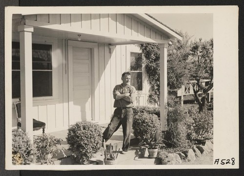 Yugoslavian farmer is taking over berry farm formerly operated by residents of Japanese ancestry, who are being sent to assembly points and later to be housed in War Relocation Authority centers for the duration. Photographer: Lange, Dorothea Centerville, California