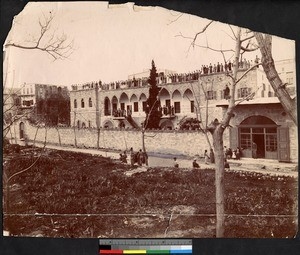 People standing atop the roof of the Gerard Institute, Syria, ca.1856-1910