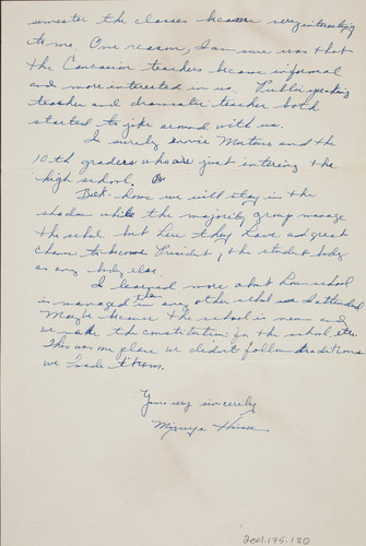 Letter from Mizuye Hirose to [Afton] Nance, 1943 Jul 1