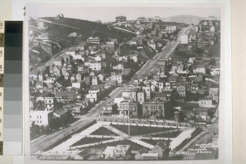 Washington Square from Telegraph Hill. Union Street on left; Powell Street in foreground. Trinity Orthodox Church. 1867