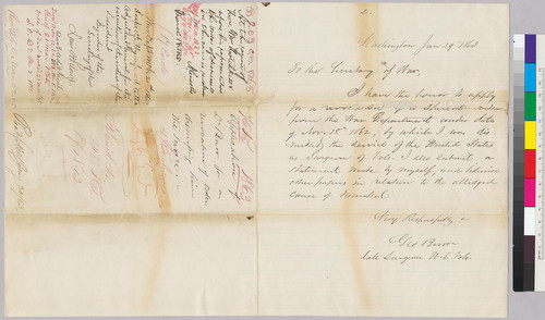 George Burr to Secretary of War [Stanton] regarding endorsement of Abraham Lincoln