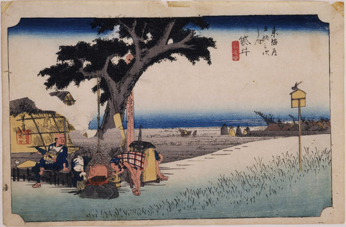 Outdoor tea stall at Fukuroi, number 28 from Fifty-Three Stations of the Tokaido (The Hoeido, or Great Tokaido)