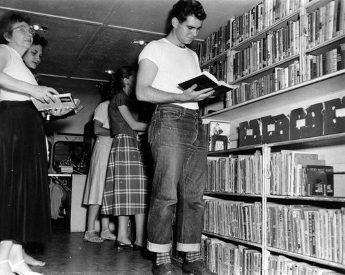 Interior view of a Los Angeles Public Library Bookmobile