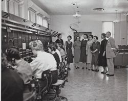 Officials receive tour of new Pacific Telephone and Telegraph Company building at 125 Liberty Street, Petaluma, California, 1951