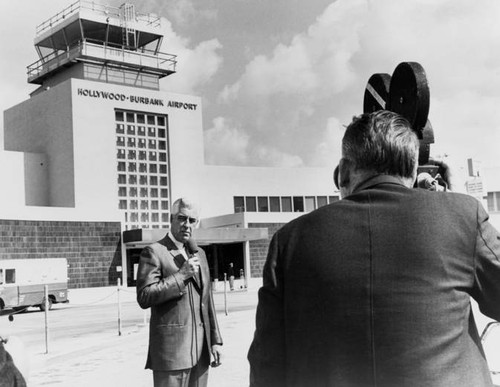 Lockheed Air Terminal President Louis W. Wulfekuhler announcing that Lockheed Air Terminal has changed its to Hollywood-Burbank Airport, 1967