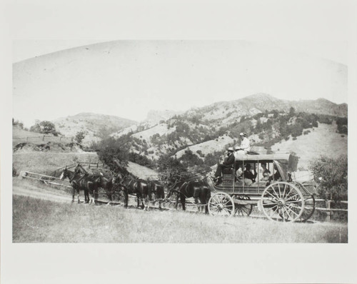 Stagecoach to Middletown, Glenbrook, and Kelseyville traveling from Calistoga, California in the 1870s or 1880s