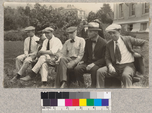 The bleachers during the horseshoe match. Bellue, B.M.M., Miring, Mulford, Sampson and Stanford. 1922