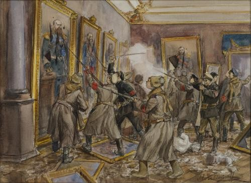 Ivan Vladimirov watercolor scene of vandalism in one of the rooms of the Winter Palace in December 1918