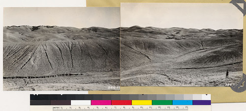 Kern County. Panorama looking east and southeast showing heavy erosion in grass type as result of storm of Sept. 30, 1932