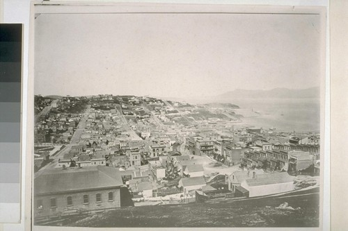 Greenwich Street and Telegraph Hill, looking west. Ca. 1865