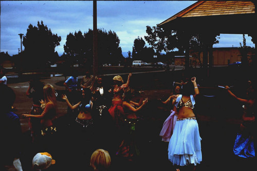 Belly dancers performing at the dedication of the gazebo at Brookhaven Park, Sebastopol, California, October 1976