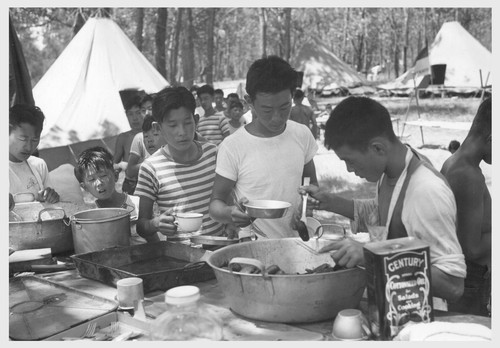 A 5-day Boy Scout Camp on the bank of the Mississippi River was composed of nearly a hundred boys from the Rohwer Center, a few less from the Jerome Center, together with a small group from the nearby town of Arkansas City. McGehee, Arkansas