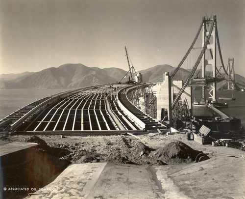 golden gate bridge construction before the roadway was poured october 1936 photograph