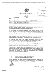 Galleher Limited[Memo from Norman Jack to Steven Perks regarding direct shipment to markets]