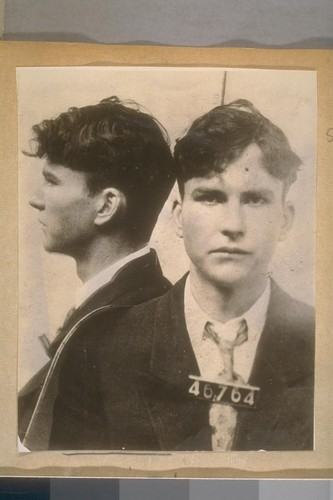 Alphonse Reilly. San Quentin. 46764. Executed Mar. 14.1930. Age - 22. In hold up of a shoe store in Los Angeles, shot & killed proprietor. Came to coast from St. Louis, Mo. Was in Navy and became straggler & deserter - 2.24.1927. Arr. Long Beach, & released to Navy Suthorities [sic]