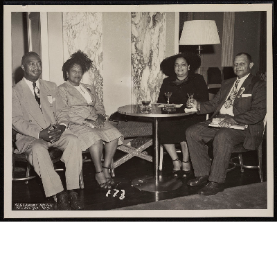 Dinner banquet (left-right): B.F. McLaurin, Mrs. Totten, Mrs. M. McLaurin, Willie Richardson
