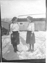 Myrtle and Mildred Kingwell in the snow, about 1923