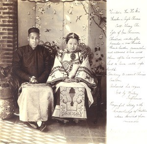 Chinese Christian man and wife, Guangzhou, China, ca. 1910